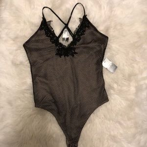 NWT Express Sexy Black & Nude Body Suit Size M